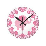 Pink Elephant Round Clocks