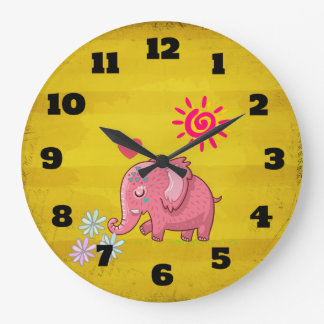 Pink Elephant Smelling Flowers on Vintage Yellow Large Clock