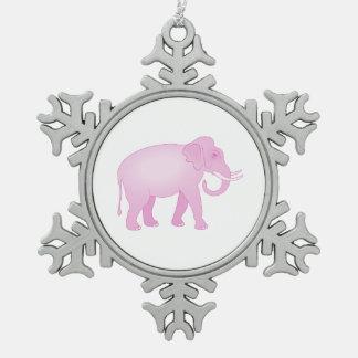 Pink Elephant Snowflake Pewter Christmas Ornament