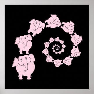 Pink elephant spiral. poster