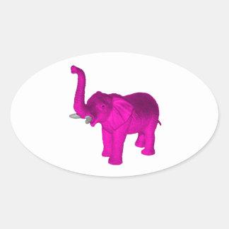 Pink Elephant Oval Sticker