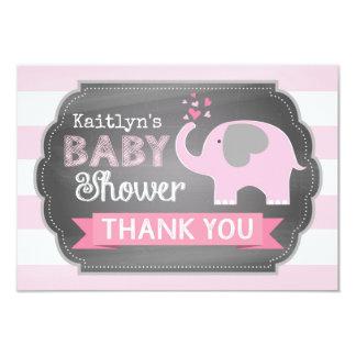 Pink Elephant Stripe Print Thank You Card