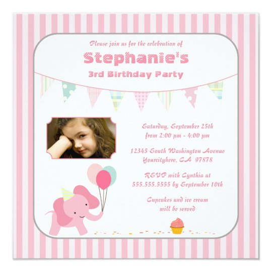 Pink elephant stripes birthday party invitation