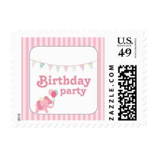 Pink elephant stripes birthday party postage stamp