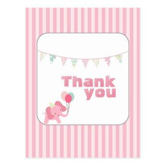 Pink elephant stripes thank you postcard