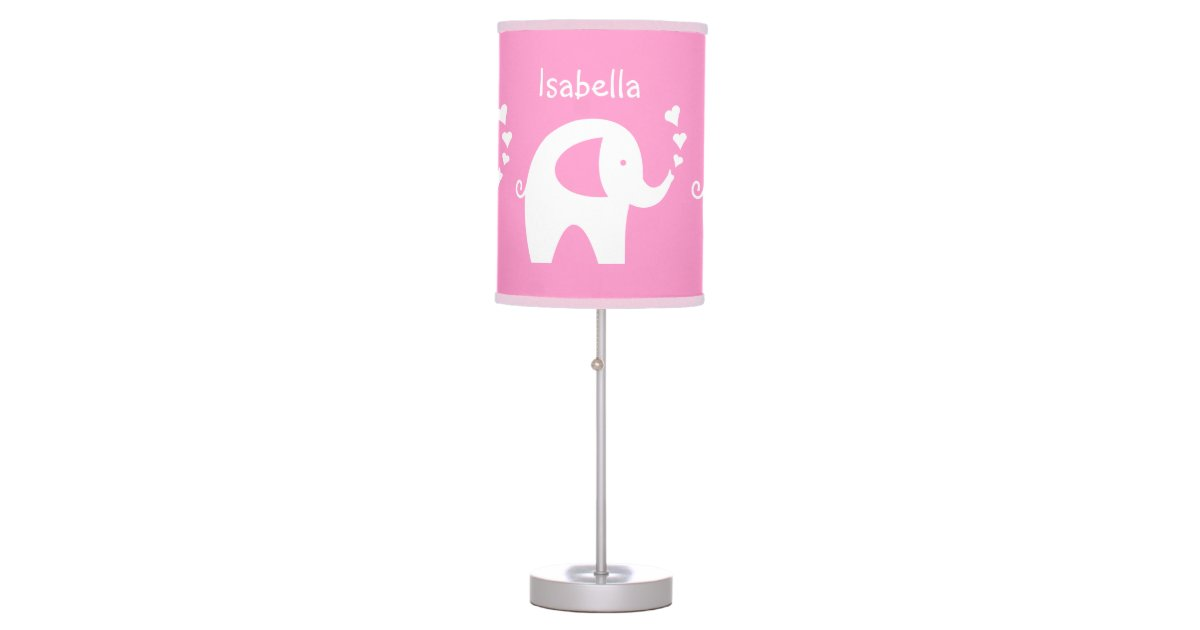 pink elephant table lamp baby girl nursery room zazzle. Black Bedroom Furniture Sets. Home Design Ideas