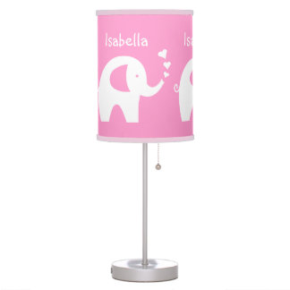 Pink elephant table lamp baby girl nursery room