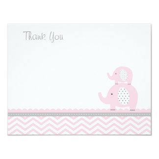 Pink Elephant Thank You Card Custom Announcements