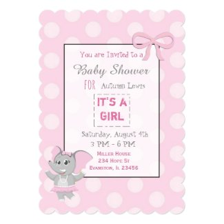 Pink Elephant Themed Baby Shower Invitations