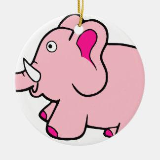 Pink Elephant Trunk Up Super Cute Ceramic Ornament