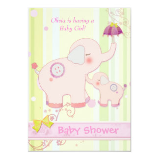 Pink Elephant Umbrella Baby Girl Shower Card