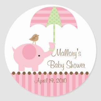 Pink Elephant Umbrella Baby Shower Sticker