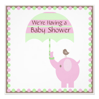 Pink Elephant Umbrella Bird Invitation