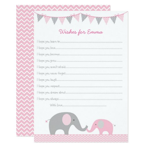 Pink Elephant Wishes for Baby Card