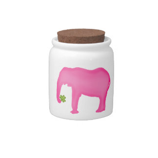 Pink Elephant with a Clover Candy Dish