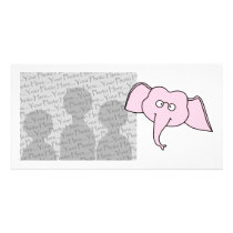 Pink Elephant with Glasses. Cartoon Card