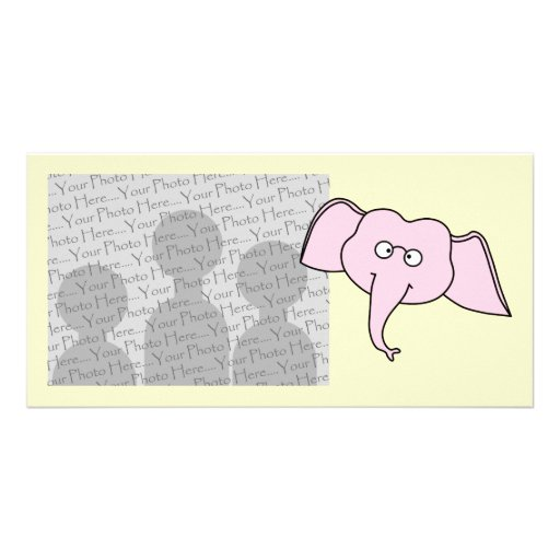 Pink Elephant with Glasses. Cartoon Picture Card