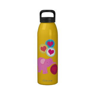 Pink Elephants and Hearts Water Bottle
