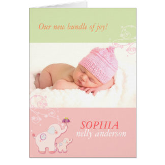 Pink Elephants Baby Girl Photo Birth Announcements Greeting Cards
