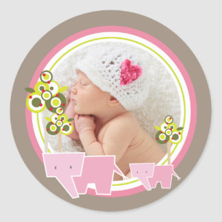 Pink Elephants Baby Girl Photo Gift Tag Sticker