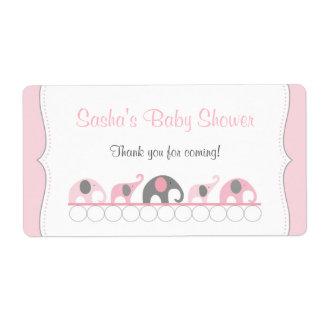 Pink Elephants Baby Shower Water Bottle or Favor Label