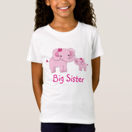 Pink Elephants Big Sister T-Shirt
