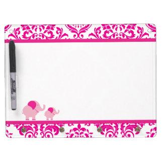 Pink Elephants Dry Erase Board
