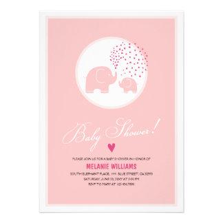 Pink Elephants Hearts Girl Baby Shower Invitation Custom Invites