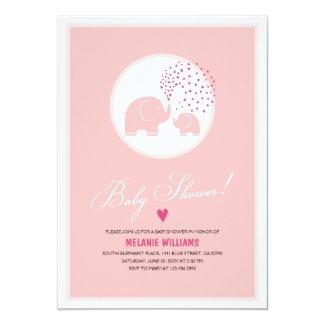 Pink Elephants Hearts Girl Baby Shower Invitation