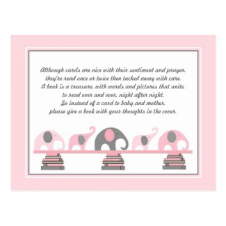 Pink Elephants Insert for Book Baby Shower