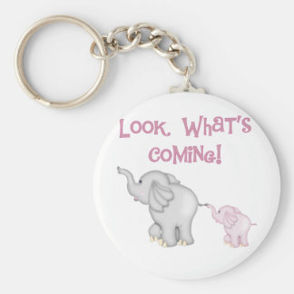 Pink Elephants Look What's Coming Keychain