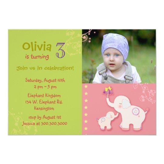 Pink Elephants Photo Birthday Party Card