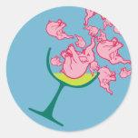 Pink Elephants Round Stickers