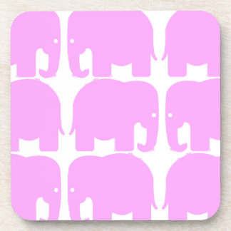 Pink Elephants Silhouette Cork Coaster