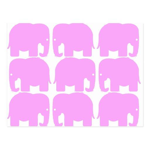 Pink Elephants Silhouette Postcard