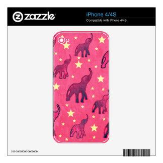 Pink Elephants Stars Pattern iPhone 4 Decals