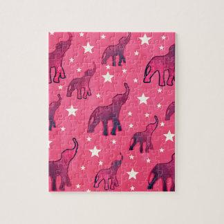 Pink Elephants Stars Pattern Jigsaw Puzzle