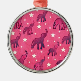Pink Elephants Stars Pattern Metal Ornament