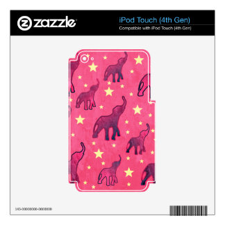 Pink Elephants Stars Pattern Skin For iPod Touch 4G