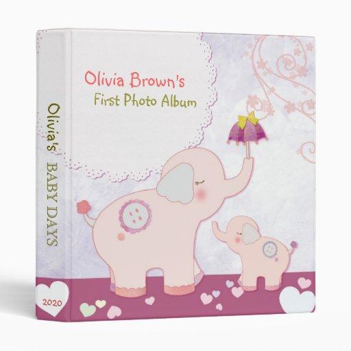 Pink Elephants & Umbrella Baby's First Photo Album 3 Ring Binders