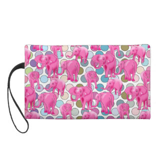Pink Elephants Wristlet Purse