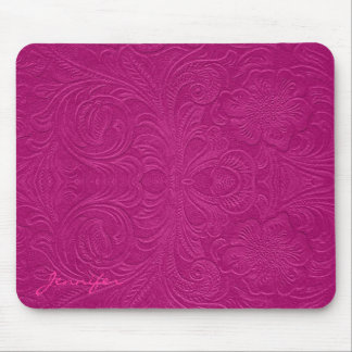 Pink Embossed Flowers Suede Leather Look Mouse Pad