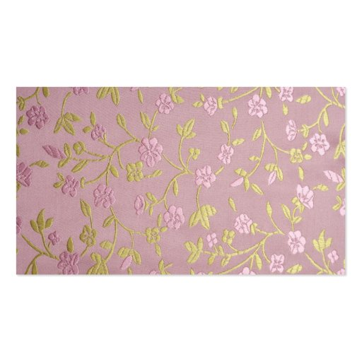 Pink Embroidered Flowers Business Card Templates
