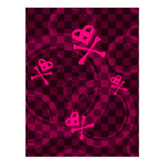 Pink Emo Pattern With Circles Postcard