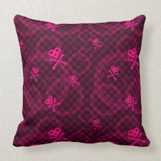 Pink Emo Pattern With Circles Throw Pillows