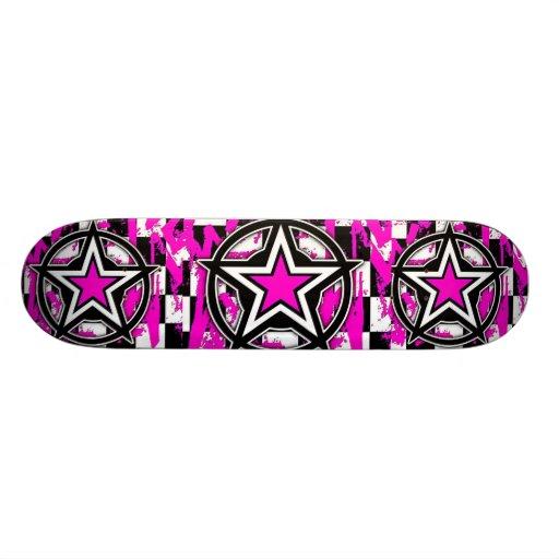 Pink Emo Stars Skateboard by Bradley Boness