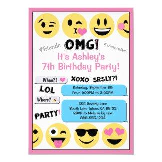 Pink Emoji Birthday Invitation