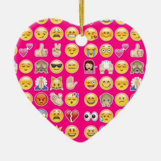 pink emoji Double-Sided heart ceramic christmas ornament