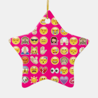 pink emoji Double-Sided star ceramic christmas ornament