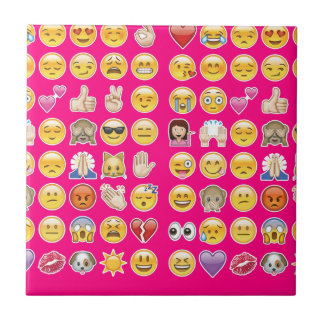 pink emoji small square tile